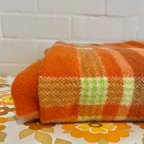 Orange & Green Checked Vintage 70's Bright Blanket