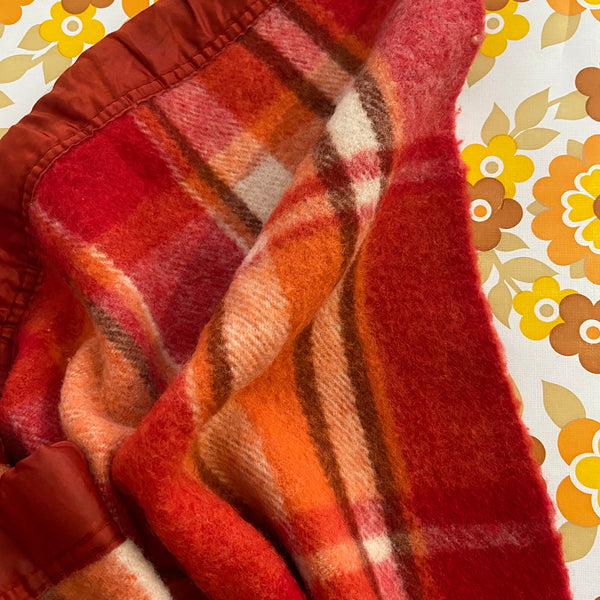 INVICTA Red & Orange Blanket CHECKED Vintage WOOL Retro Bedroom