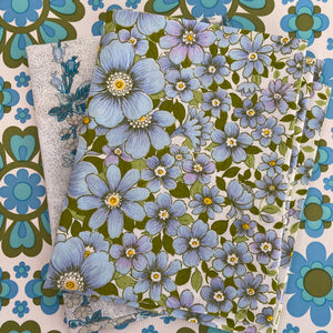 PAIR of MISMATCHED Cotton PILLOW CASES Floral Retro