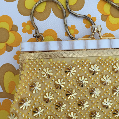 Vintage Yellow Evening Bag Lanza Designed in Italy Made Hong Kong