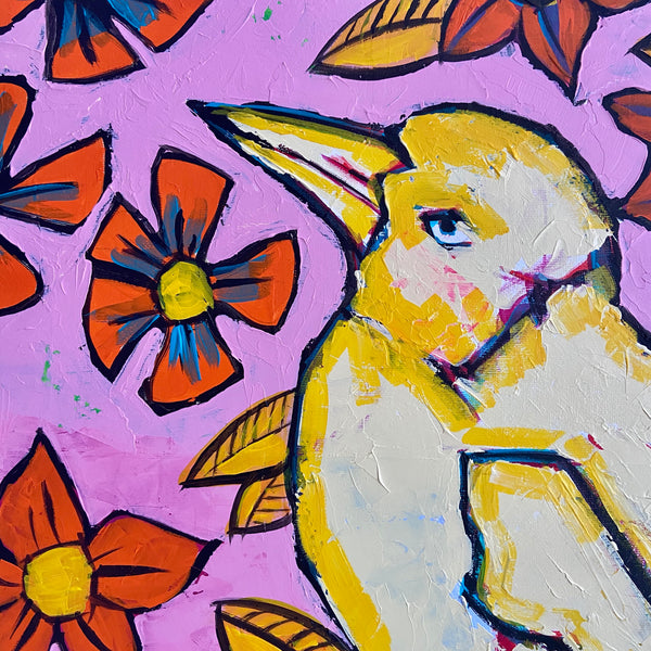 BIRD With Flowers RETRO Pop Art ONE OF A KIND Painting