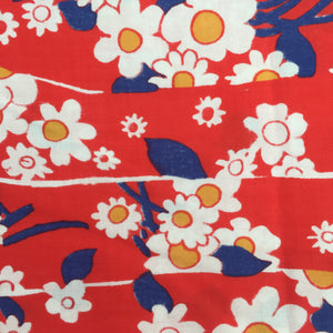 Cute Red FLORAL Fabric Cotton Blend Patchwork Sewing Craft