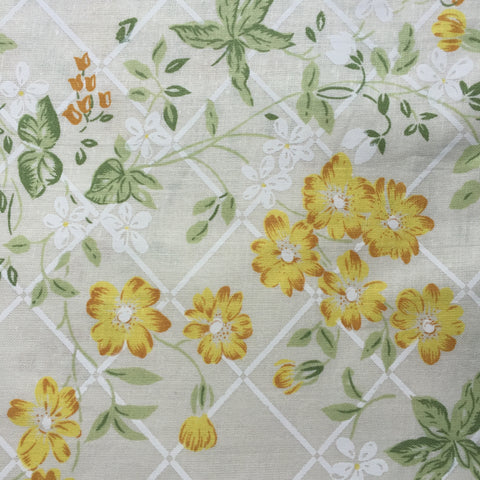 UNUSED Vintage Sheet Yellow All COTTON FABRIC