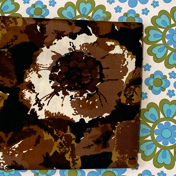 BOLD Design ~ Brown Floral ALL Cotton Fabric RETRO 190cms