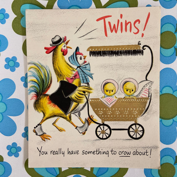 TWINS Vintage Greeting CARD Collectable 60's Kitsch Craft