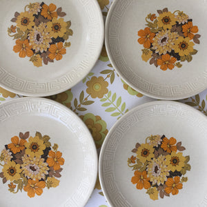 Johnsons for Australia Set of Four Plates 70's Flower Power