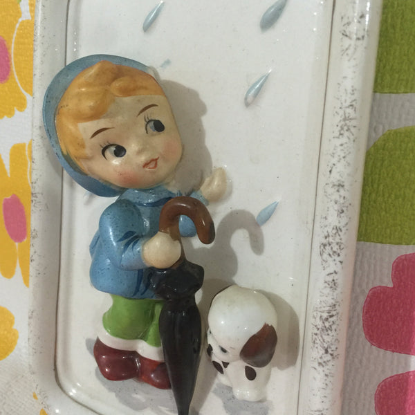 Vintage CHILD Wall Ceramic HANGING 60's ART Kitsch DOG