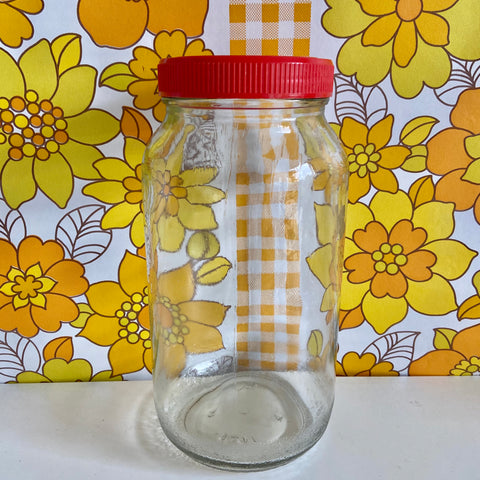 LARGE Vintage Glass Jar RED Plastic LID Storage Sewing Kitchen
