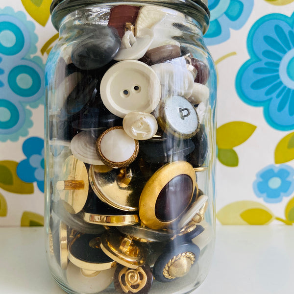 Cool Old Jar Full of Random BLING Gold & Other Buttons
