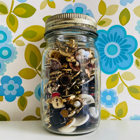 Cool Old Jar Full of Random BLING Gold Glam 80's Buttons