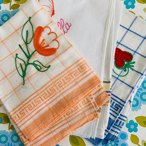 CUTE Set of Vintage Tea Towels EMBROIDERED Checked