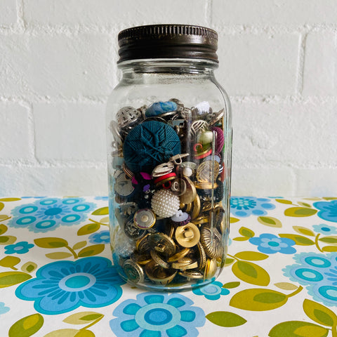 Large OLD Jar Full of Vintage Buttons Gold Silver Fabric