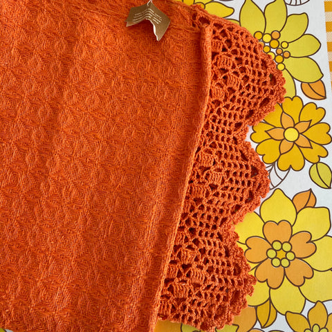AMAZING Unused Heavy Vintage Bright Orange TABLE Runner Cloth TAG