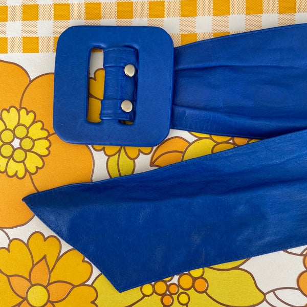GORGEOUS 80's Vintage BELT Soft Supple BLUE Club Festival