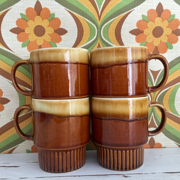 RETRO Stackable Cups Mugs Kitchen 70's FABULOUS Vintage