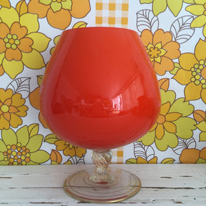 Brandy Balloon Art Glass Vase ORANGE Vintage Retro Large Excellent Condition