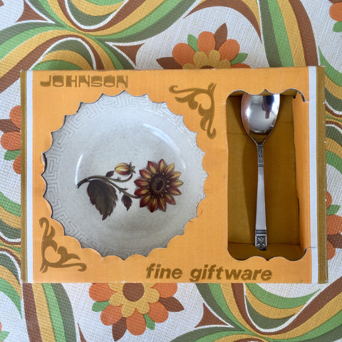 JOHNSON Boxed Gift Jam Dish & Spoon RETRO KITCHEN