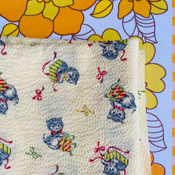 Vintage Novelty Kitten FABRIC Yellow ADORABLE Retro FABRIC