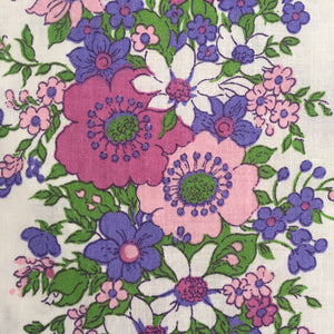 UNUSED All Cotton Vintage Sheet Purple Retro Fabric