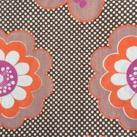 Retro Large Bold FLORAL Print COTTON Fabric Craft Sewing