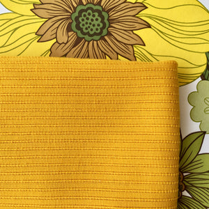 AWESOME Retro Yellow Bedspread Woven Ribbed Warm Fabric Vintage ~ Home Decor