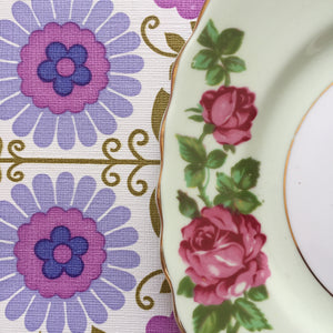 Colclough Bone China Made in England Vintage Trio Tea Set Floral Green & Pink