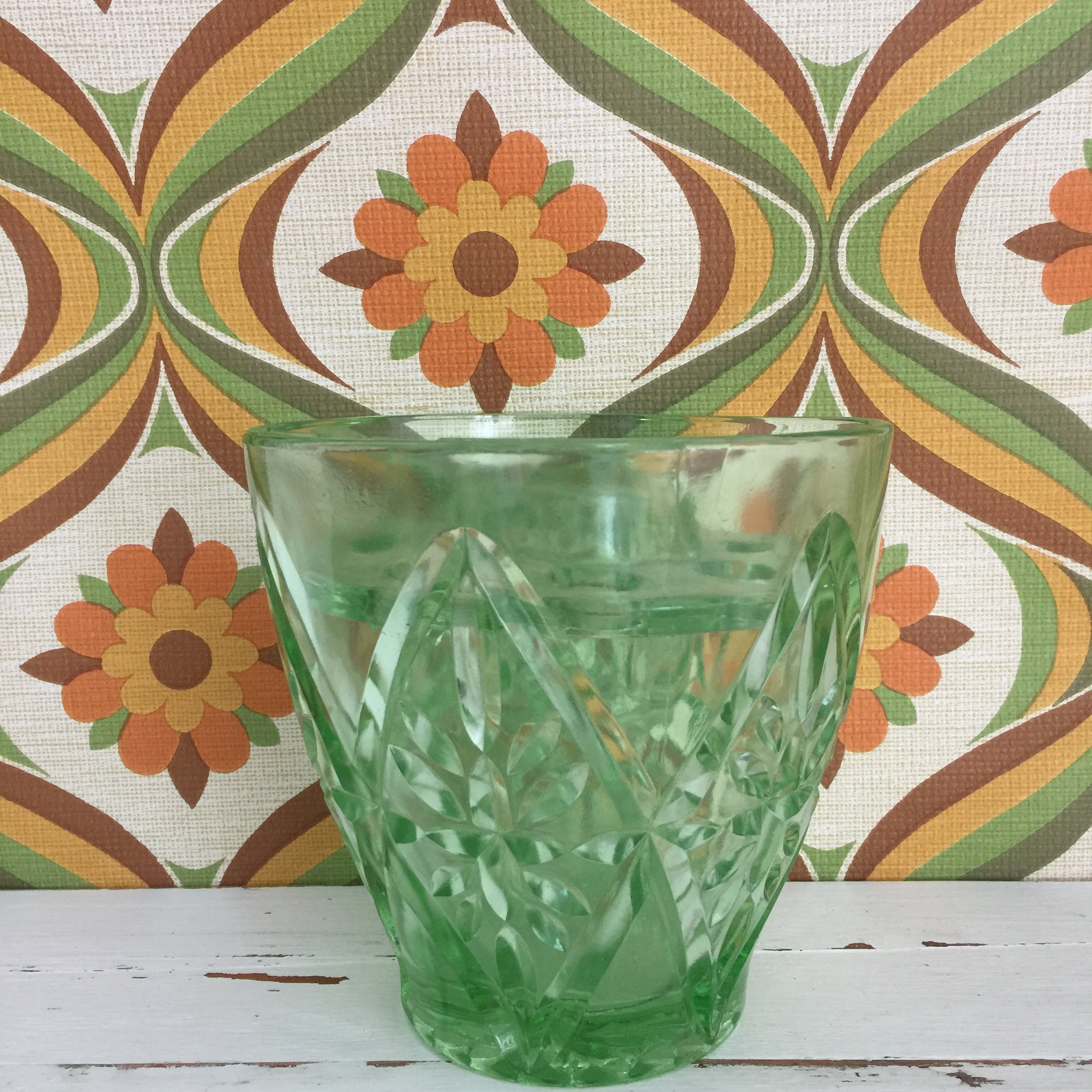 Cute Vintage Green Glass Frog Vase