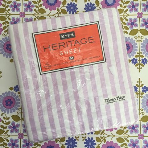 Heritage VINTAGE Cotton Sheet Fabric Stripes Lilac