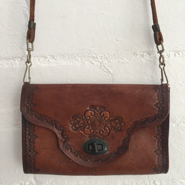 Cute Little Vintage TOOLED Bag Purse Boho Handbag