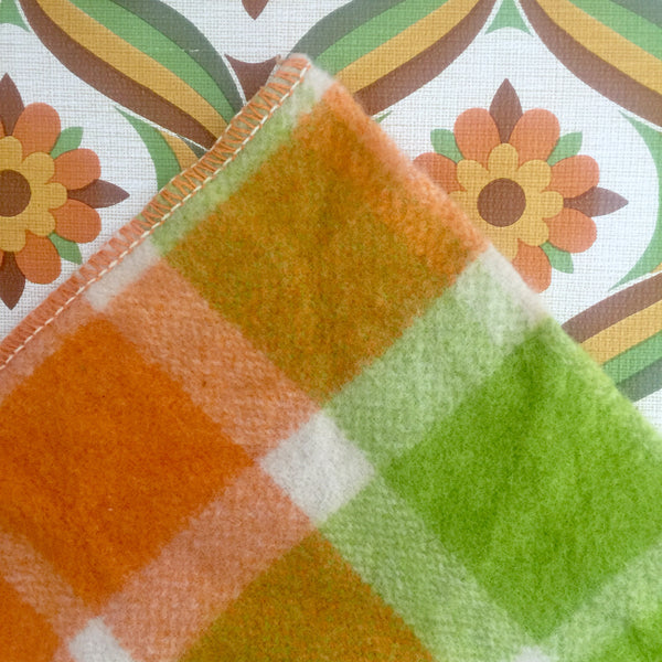 Orange & Green Checked VINTAGE Blanket Fabric RETRO Bed