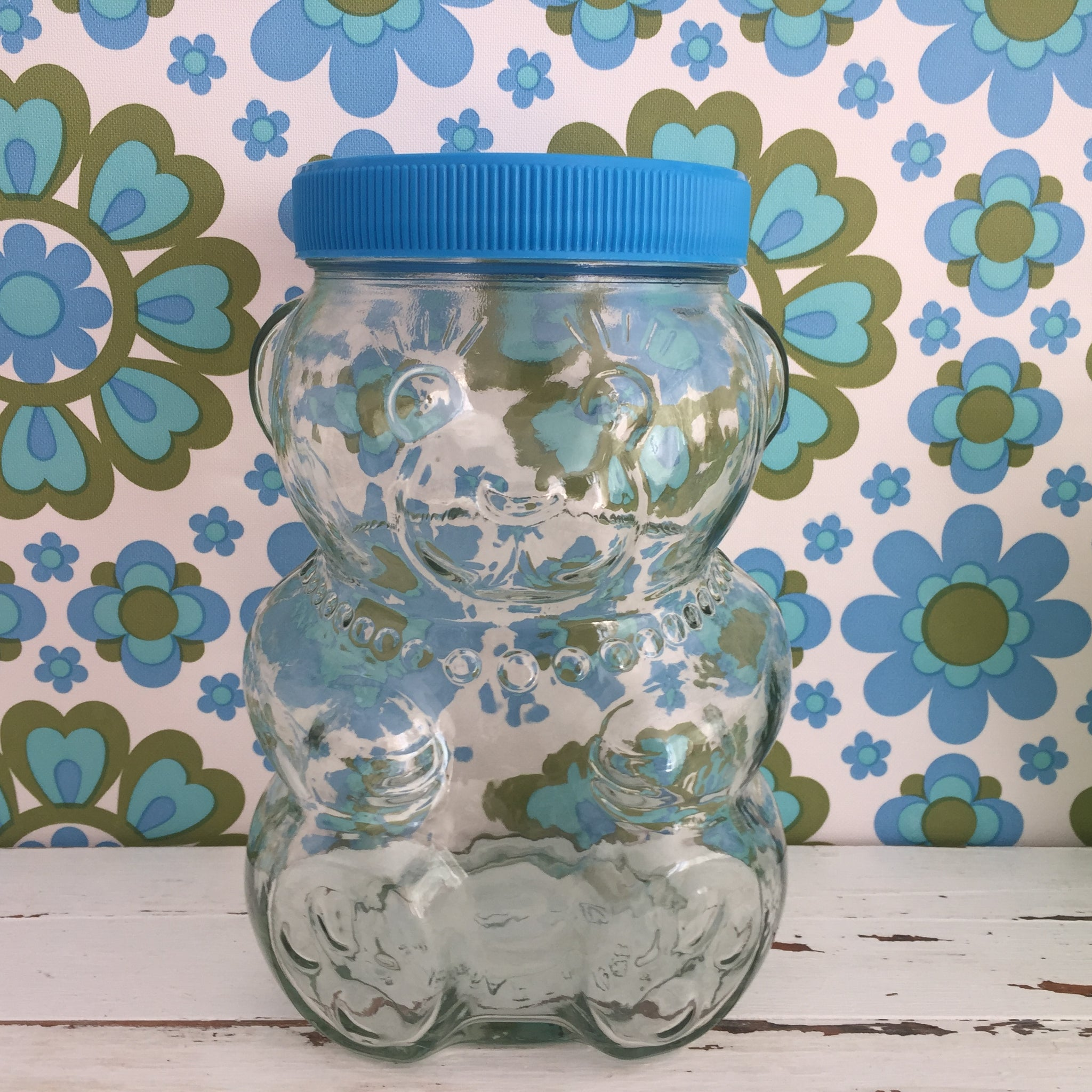 Adorable Little Glass Jar Retro BLUE LID Craft Lollies Kitchen VINTAGE