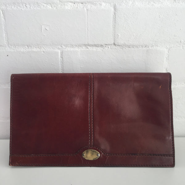 AWESOME VINTAGE Brown GENUINE LEATHER Clutch 70's Handbag ITALY