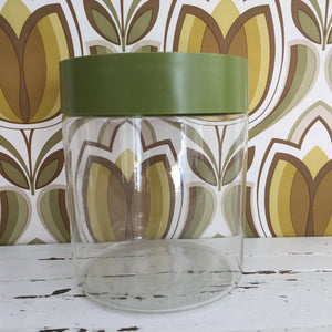 PYREX Glass Canister Green Retro Lid VINTAGE Kitchen