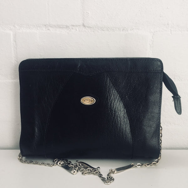 VINTAGE Genuine LEATHER Handbag Cute Chain STRAP 80's
