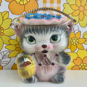 Vintage Retro 60's KITTY CAT Biscuit Barrel Cookie Kitsch Royal Sealy Japan