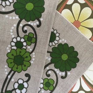 Irish Linen Tea Towel UNUSED Retro Kitchen FLORAL Green