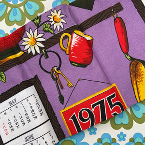 Cute Bright Cotton VINTAGE Tea Towel Kitchen Craft Teapot