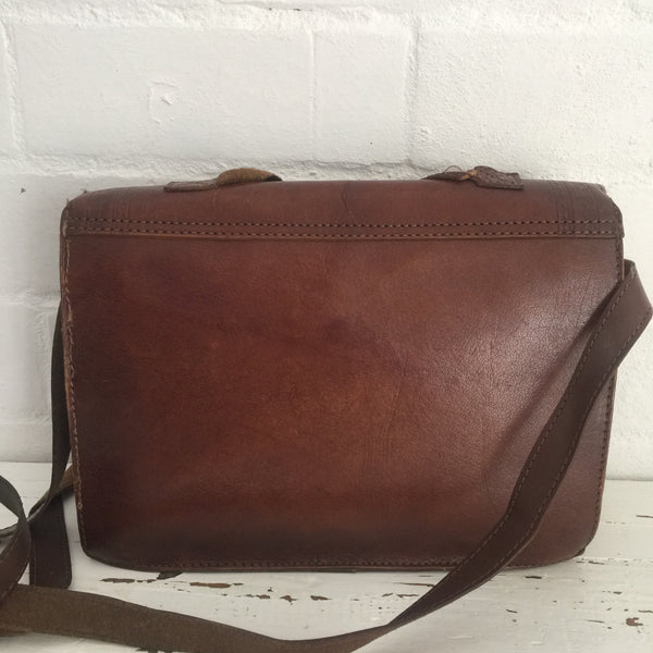 Vintage Style Satchel LEATHER School Uni Boho Hippy Chic Bag