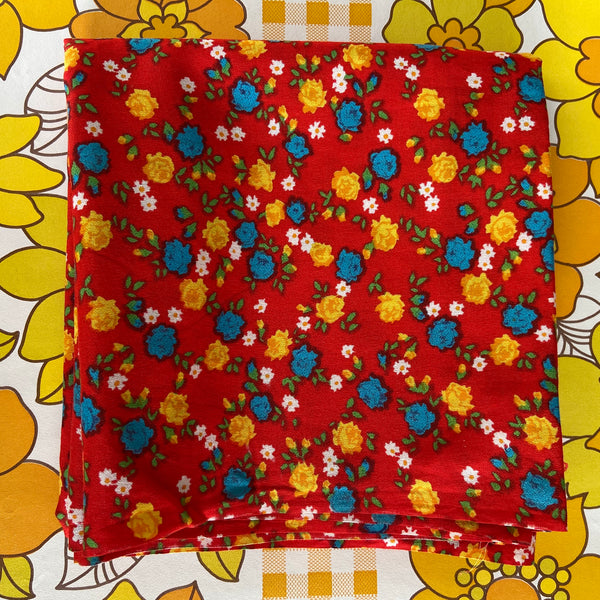 Cute Red Floral Cotton Fabric One Metre Quilting Sewing Craft