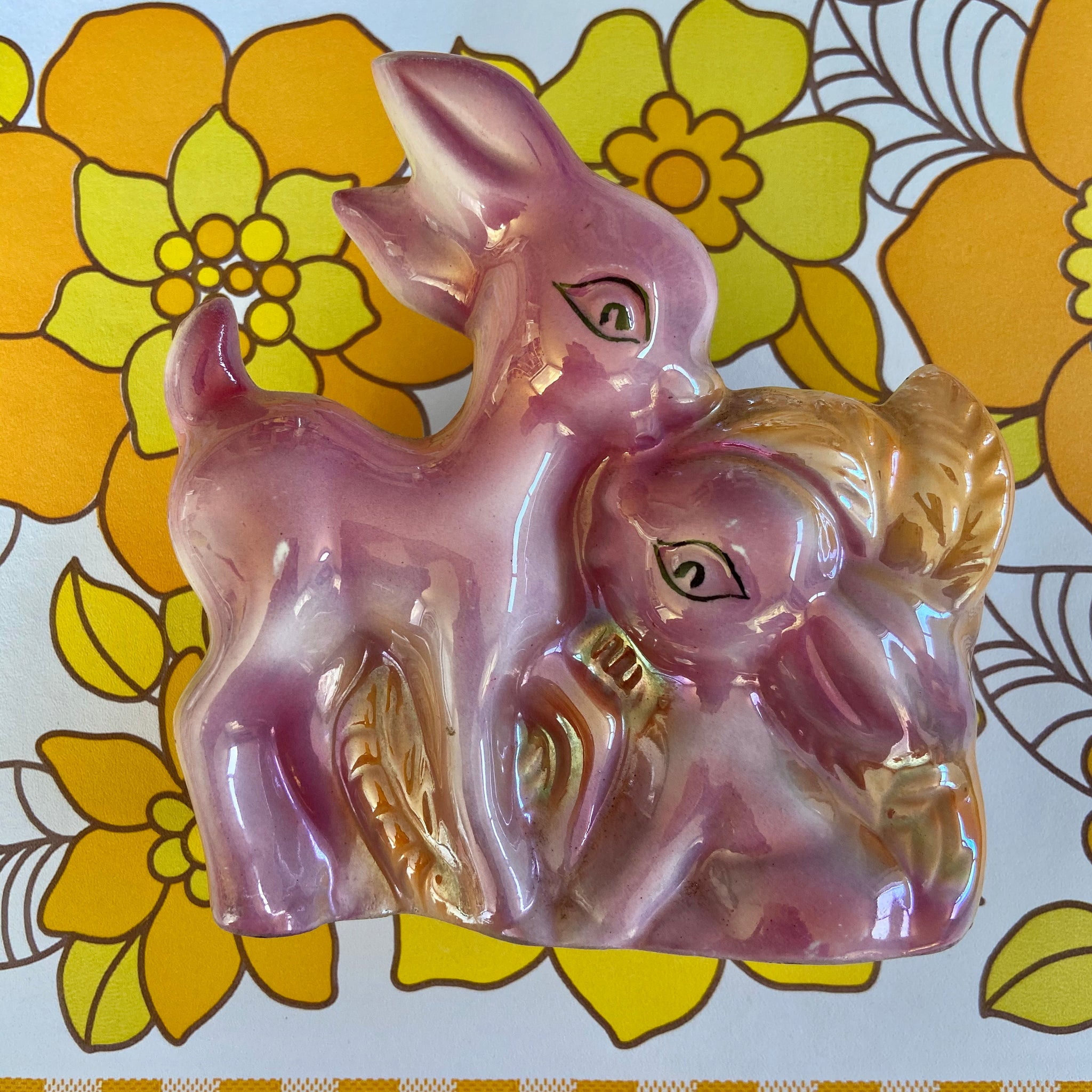 BAMBI Wall Vase KITSCH Wall Hanging LUSTRE Pink RETRO Home
