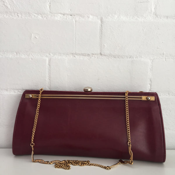AWESOME Vintage Genuine LEATHER Handbag GOLD Chain Strap 80's