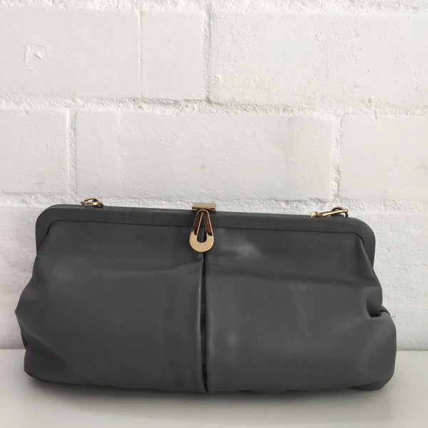 Grey 80's Genuine LEATHER Handbag Evening Clubbing