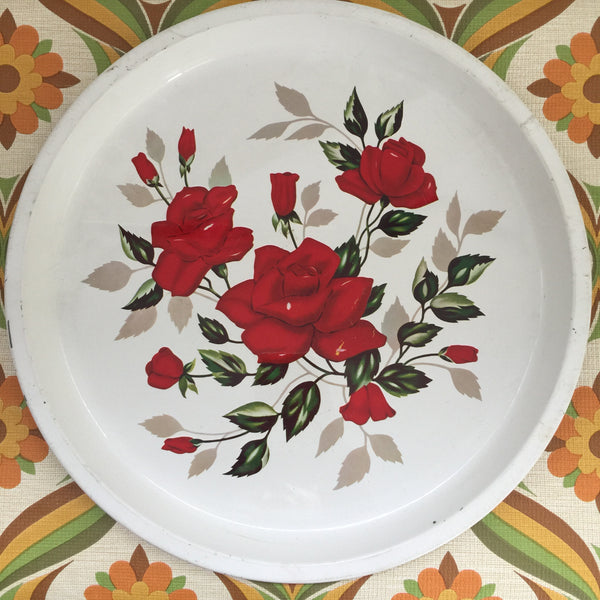 Vintage Tin Tray Red Floral Shabby Chic Retro Kitchen