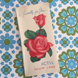 ACTIL Pillow Cases UNUSED Vintage Cotton WHITE Roses Packet
