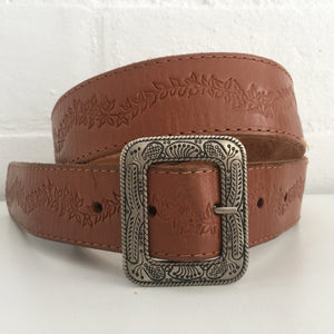 Hippy Festival Country RUSTIC Vintage BOHO BELT Genuine LEATHER Silver Buckle