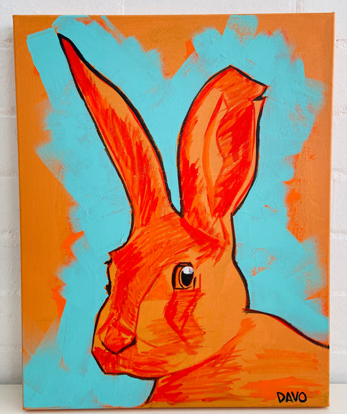 ORIGINAL ONE OF A KIND Painting on High Quality Thick Canvas RABBIT