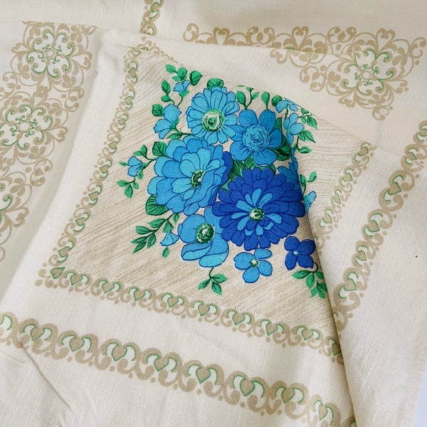 STUNNING Vintage Table Cloth Adorable Blue & Purple Floral Print