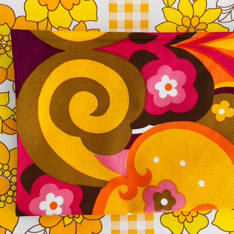 Psychedelic UNUSED Vintage TABLE CLOTH Rare Bright Cotton