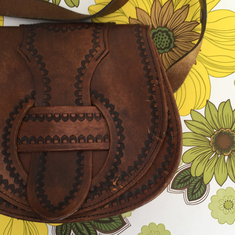 AMAZING Boho Tooled Handbag HIPPY Chic 70's Genuine LEATHER