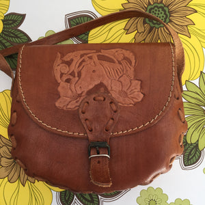 Genuine LEATHER Vintage Kitsch Horse Handbag